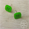 Green Square - Four Hole - Button - Stud Earrings