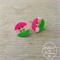 Pink, White, Lime Green Stripes - Four Hole Button - Stud Earrings