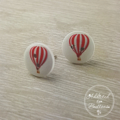 Hot Air Balloon - Red - Two Hole Button - Stud Earrings