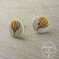 Hot Air Balloon - Yellow  - Two Hole Button - Stud Earrings