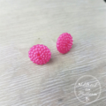 Pink Bubbles - Vintage - Two Hole Button - Stud Earrings