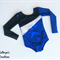 Blue, Black and Silver Long Sleeved Leotard - Size 6