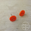 Orange Two Hole Button - Stud Earrings