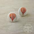 Hot Air Balloon - Orange  - Two Hole Button - Stud Earrings