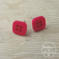 Pink Square - Four Hole - Button - Stud Earrings