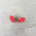 Red Art Deco - Vintage - Two Hole Button - Stud Earrings
