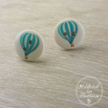 Hot Air Balloon - Teal  - Two Hole Button - Stud Earrings