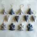 12 Felted Christmas Decorations Natural Fiber Raw String Grey 4 Trees 4 Angels 4
