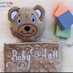 Minky Bear 'Ruggybud' - personalised, comforter, keepsake, lovey.