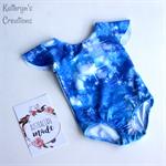 Blue Sparkle Flutter Sleeve Leotard - Size 3