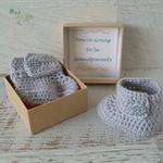 Pale Grey Crochet Baby Booties Pregnancy Announcement Reveal