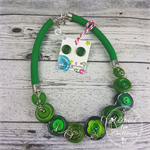 Green - Button Fusion Necklace - Button Jewellery - Earrings