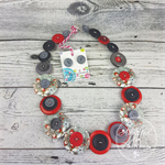 Button Necklace - Grey Flowers with Red - Button Earrings - Whimsy