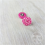 Dark Pink with White Spots Button - Stud Earrings