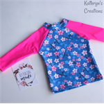 Cherry Blossom Print Rashie Swim top - Size 2