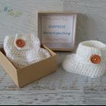 Cream Crochet Baby Booties Pregnancy Announcement Reveal
