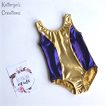 Gold and Purple Spliced Leotard - Size 4