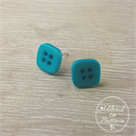 Teal Square - Four Hole - Button - Stud Earrings