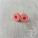 Red with White Rope - Four Hole Button - Stud Earrings