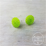 Lime Green Pearl Bubbles - Vintage - Two Hole Button - Stud Earrings