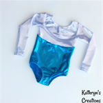 Aqua and Silver Long Sleeved Leotard - Size 4
