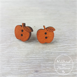 Apple for the Teacher -  Wood - Button - Stud Earrings