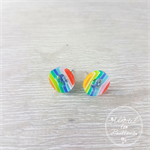 Rainbow Stripes Four Hole Button - Stud Earrings