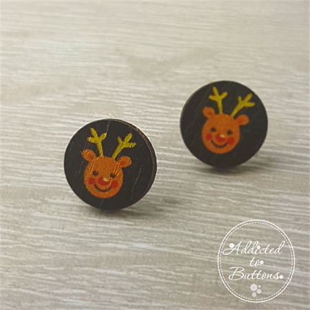Christmas - Reindeer Rudolph Red Nose - Stud Earrings