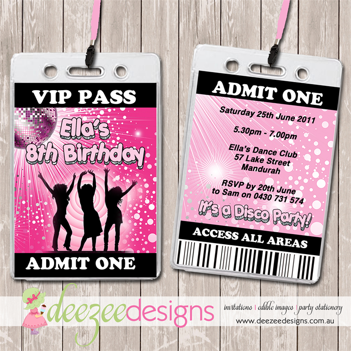 Disco Dance VIP Lanyard Birthday Invitations x 10 BD083G Deezee