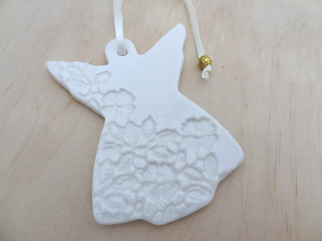 White Christmas Angel Decorations. Ceramic Ornaments. Teachers Gift.