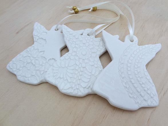 Attirant White Christmas Angel Decorations. Ceramic Ornaments. Teachers Gift.