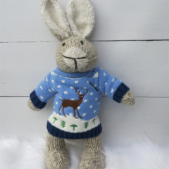 Cute Hand Knitted Tan/Cream Bunny Toy with Christmas Reindeer Jumper/Sweater