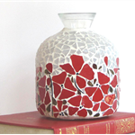 Red Poppy Mosaicked vase or decorator piece