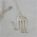 Elephant pendant made from vintage silver plated fork