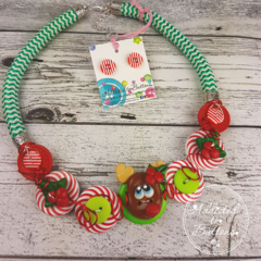 Reindeer - Twisted - Button Fusion Necklace - Button Jewellery - Earrings