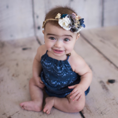 Baby Girl Cotton and Lace Boho Halter Romper - Navy and Indigo