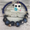 Blue - Navy Twist - Button Fusion Necklace - Button Jewellery - Earrings