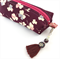 Kimono fabric makeup bag /pouch with beaded tassel- purple and white floral