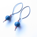 Blue Ceramic hand made dangle Earrings