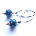 Navy Blue and White Abstract Hand made Earrings