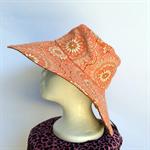 Retro Pink & Brown Reversible Sun Hat - Girls / Ladies, paisley flower daisy