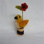 Alpaca fibre art needle felted bird