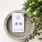 Turquoise Foliage 12mm Fabric Covered Earrings Surgical Steel Studs