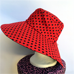 Retro Red Polka Dot Reversible Sun Hat - Girls / Ladies sizes - spot, black