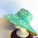 Retro Green & Yellow Reversible Sun Hat - Girls / Ladies, geometric flower daisy