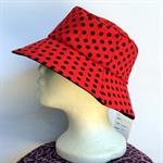 Retro Red Polka Dot Reversible Bucket Hat - girls sizes 6 mths - 8 yrs