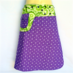 Green & purple reversible skirt - Ladies sizes 8 to 14 - pocket, paisley, flower