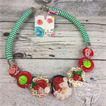 Santa - Twisted - Button Fusion Necklace - Button Jewellery - Earrings