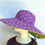 Retro Green & Purple Reversible Sun Hat - Girls / Ladies, paisley flower daisy
