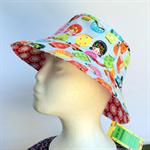 Retro Babushka Doll & Flower Reversible Bucket Hat - girls sizes 6 mths - 8 yrs